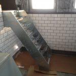 Дизайнерска стълба Рибена кост от неръждаема стомана и дърво, Лифт Сопот, НП Архитекти