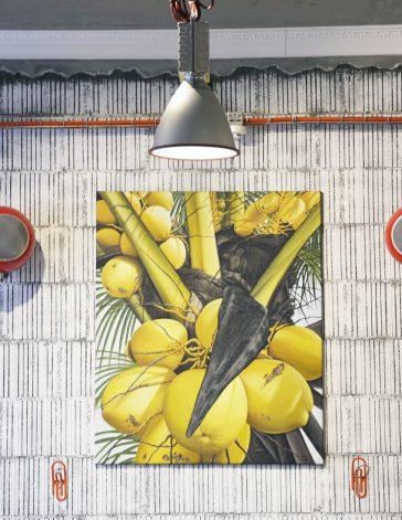 Pendant modern lamp, decorations, exposed painted bricks , Industrial interior design, Gelato&Latte shop, NP Architects